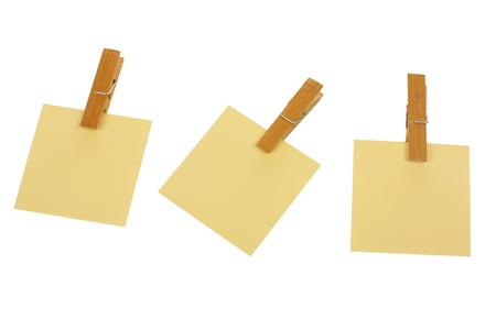 Three post it with pegs isolated on white background Stock Photo - 11396578