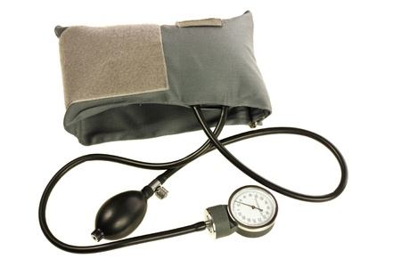 Blood pressure cuff, isolated on white background photo