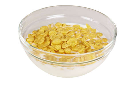 Cornflakes in porcelain bowl isolated on white background  photo
