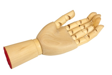 Outstretched wooden hand, isolated over white background  photo