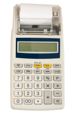 Electronic cash register isolated on white  photo