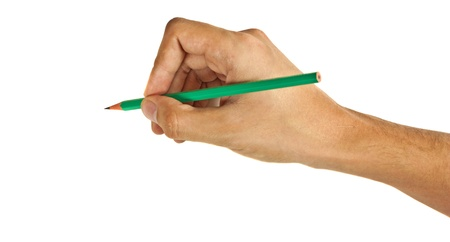 Green pencil in hand isolated on white background  Stock Photo