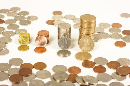 nickle: Romanian currency coins over white background