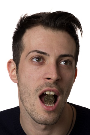 Man holding a romanian coin in the mouth, isolated over white Stock Photo - 17333907
