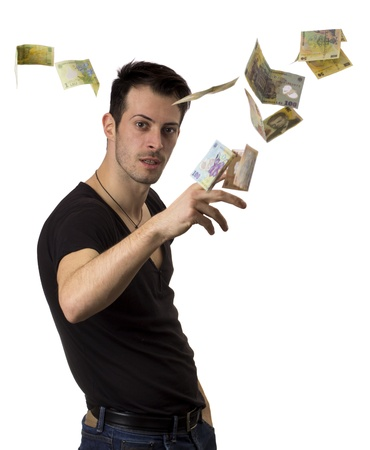 throws: Young man throws romania money in the air isolated over white background
