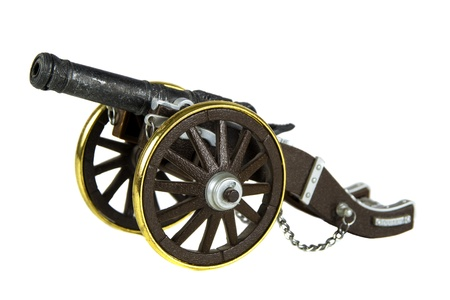 Ancient cannon on wheels isolated on white background Stock Photo - 17745206