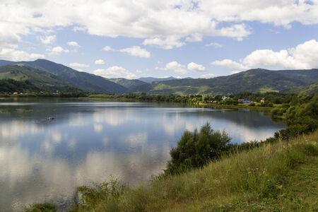Mountain lake Pangarati in romanian carpathian mountains