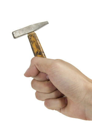 Hand with old and small hammer isolated on white background   Stock Photo