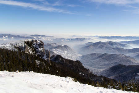 seson: Top view from Ceahlau mountains in winter seson