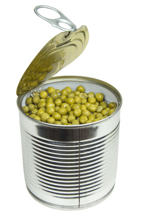 Tin can with green peas isolated on a white background