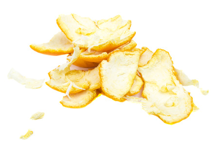 favoring: Orange peel isolated on the white background