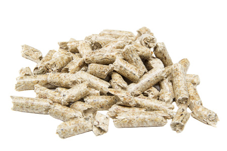 wood pellets: Pile of wood pellets isolated on white background