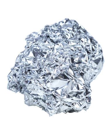 aluminum foil: crumpled ball of aluminum foil isolated on white background Stock Photo