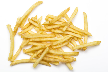 French fries isolated against white background