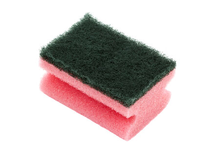 Kitchen dish sponge isolated over a white background photo
