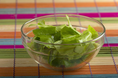Fresh green lettuce in one glass bowl