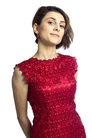 Attractive young woman wearing a red dress, isolated on white Stock Photo