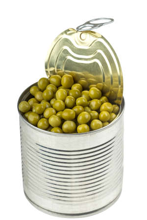 vegetable tin: Opened tin with green peas. Isolated on white. Stock Photo