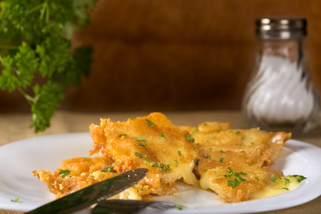 golden section: Detail of golden fried cheese with parsley on white plate