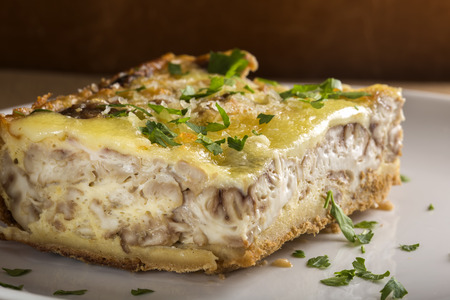 Plate with pork brain pudding with cheese