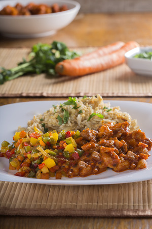sumptuous: Sweet and sour chicken and rice with vegetables
