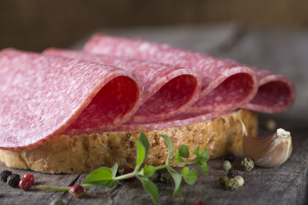 Open sandwich of salami slices on whole grain