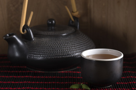 teacup: Image of traditional eastern teapot and teacup on bamboo rug