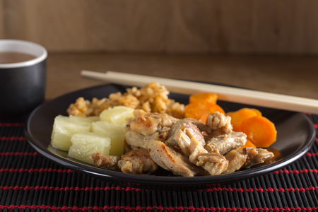 sweet and sour: Chinese food - fried chicken sweet sour with vegetable