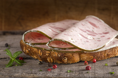 specialty: Specialty meat sandwich made with sheep cheese and vine leaves Stock Photo