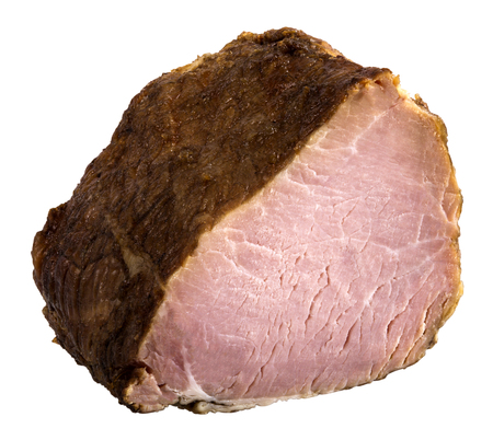 Appetizing piece of smoked meat. The image is a cut out, isolated on a white background, with a clipping path. The image is in full focus, front to back.