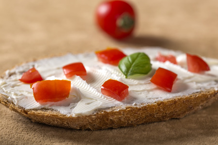 Open sandwich with cheese cream and red bell pepper