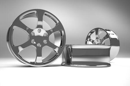 Chrome image 3D high quality rendering. Alloy rim for car, best used for Motor Show promotion or car workshop booklet or flyer design on white background