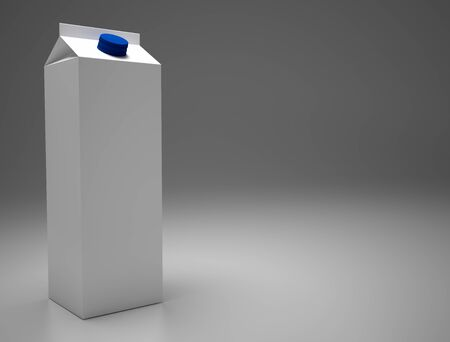 3D Rendering 1L Carton box with Screw Cap Mock-up