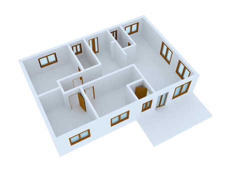 cutaway drawing: Empty 3D house isolated over white background