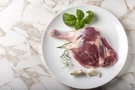 One raw uncooked duck leg on plate with garlic and herbs