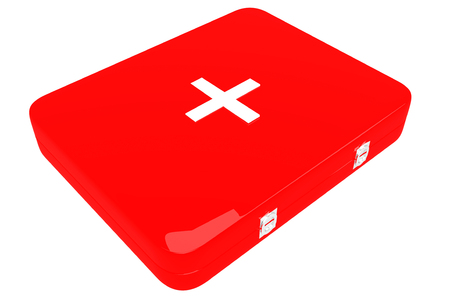 urgency: 3d illustration of first aid kit. Isolated on white background