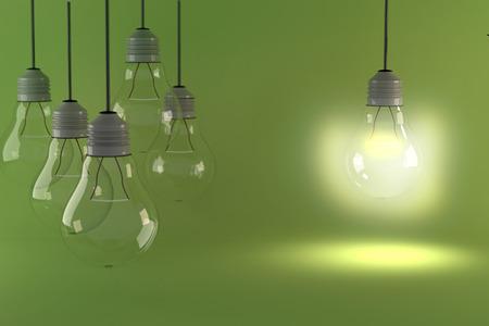 1 つの電球白熱異なると立っ消灯白熱電球からぶら下がっています。3 D レンダリング。