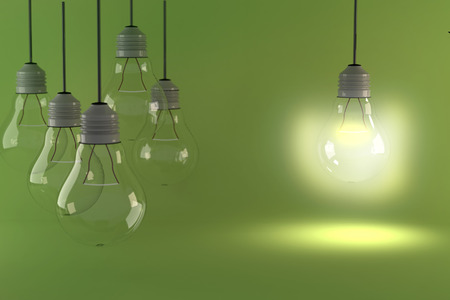 One hanging light bulb glowing different and standing out from unlit incandescent bulbs. 3D rendering.