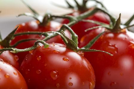 하얀 접시에 신선한 원시 체리 토마토의 닫습니다