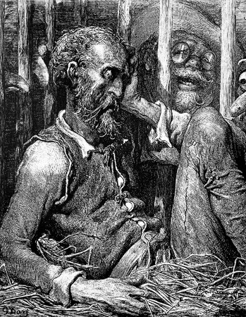 The Don is placed in a cage Picture from Don Quixote Edoardo Perino Quijote Rome, 1888 drawing by Gustave Dore