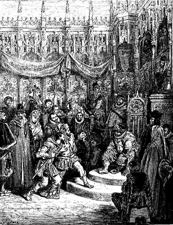 don quixote: Litigants come before Sancho for legal decisions Picture from Don Quixote Edoardo Perino Quijote  Rome, 1888  drawing  by Gustave Dore Editorial