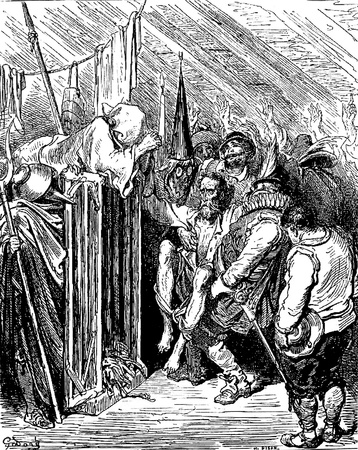 The party at the inn, wearing disguises, start Don Quixote on a journey home Picture from Don Quixote Edoardo Perino Quijote  Rome, 1888  drawing  by Gustave Dore