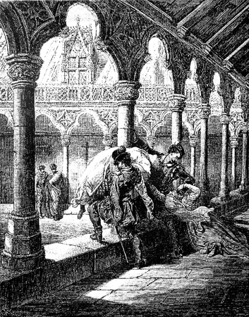abduct: Fernando abducts Luscinda from the convent Picture from Don Quixote Edoardo Perino Quijote  Rome, 1888  drawing  by Gustave Dore Editorial