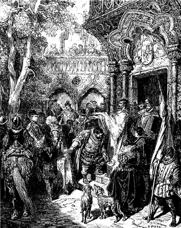 don quixote: En el camino para gobernar su �nsula de Sancho recibe la bendici�n de Don Quijote de la imagen de Don Quijote hecho por Edoardo Perino Quijote de Roma de 1888 dibujo de Gustave Dore Editorial