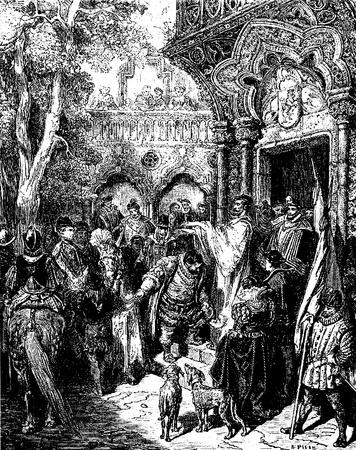 don quichotte: Sur la fa�on de gouverner son �le Sancho re�oit Photo Don Quichotte b�n�diction de Don Quichotte Edoardo Perino Rome Quijote, 1888 dessin de Gustave Dor�
