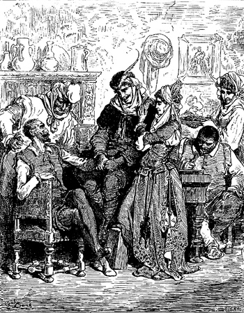 Sancho and the Don are entertained by the newlyweds Picture from Don Quixote Edoardo Perino Quijote  Rome, 1888  drawing  by Gustave Dore