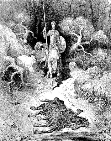 cadaver: Soon afterward they find the cadaver of a mule Picture from Don Quixote Edoardo Perino Quijote  Rome, 1888  drawing  by Gustave Dore