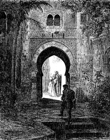 She goes off sadly with her father-This picture is from Don Quixote, Edoardo Perino, the Italian edition published in 1888, Italy-Rome.The engraving is made by Gustave Dore.