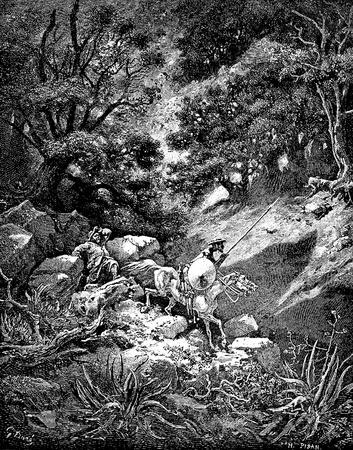 don quijote: Sancho se queja de su viaje a trav�s del accidentado terreno-Esta foto es de Don Quijote, Edoardo Perino, la edici�n italiana publicada en 1888, Italia-Roma.El grabado es hecho por Gustave Dor�.