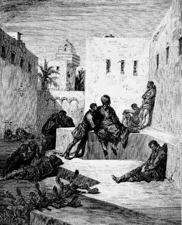 d�livrance: Le captif divulgue possibilit� de d�livrance de ren�gat, Cette photo est de Don Quichotte, Edoardo Perino, l'�dition italienne publi�e en 1888, l'Italie-Rome.The gravure est faite par Gustave Dor�.